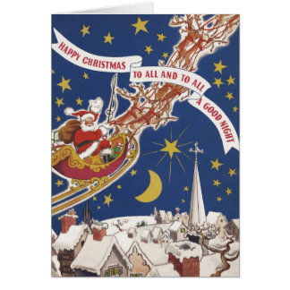 Vintage Christmas, Santa Claus Flying His Sleigh Greeting Cards