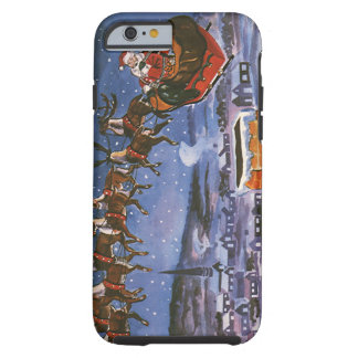 Vintage Christmas Santa Claus Flying His Sleigh Tough iPhone 6 Case