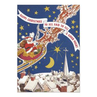 Vintage Christmas, Santa Claus Flying His Sleigh 5x7 Paper Invitation Card
