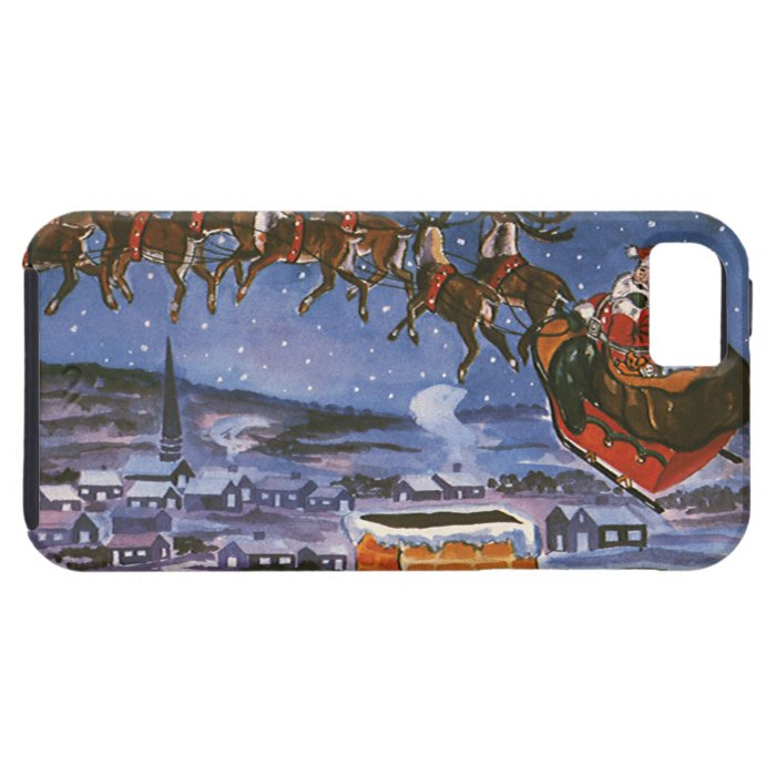Vintage Christmas Santa Claus Flying His Sleigh iPhone SE/5/5s Case