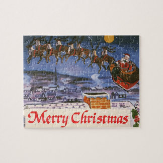 Vintage Christmas Santa Claus Flying His Sleigh Jigsaw Puzzle