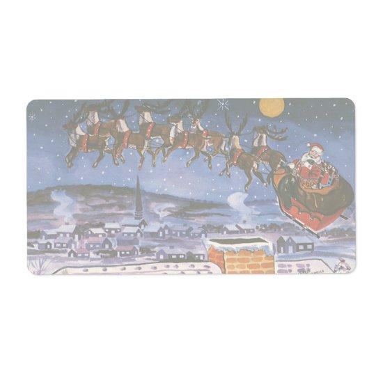 Vintage Christmas Santa Claus Flying His Sleigh Label