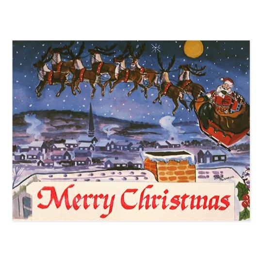 Vintage Christmas Santa Claus Flying His Sleigh Postcard