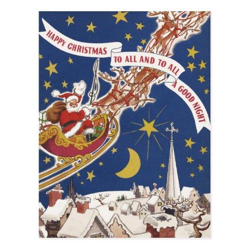 Vintage Christmas, Santa Claus Flying His Sleigh Postcards