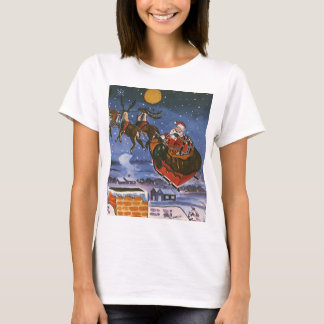Vintage Christmas Santa Claus Flying His Sleigh T-Shirt