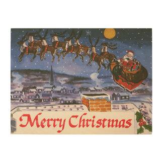 Vintage Christmas Santa Claus Flying His Sleigh Wood Print