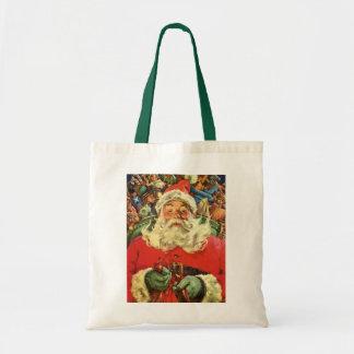Vintage Christmas, Santa Claus Flying Sleigh Toys Tote Bags
