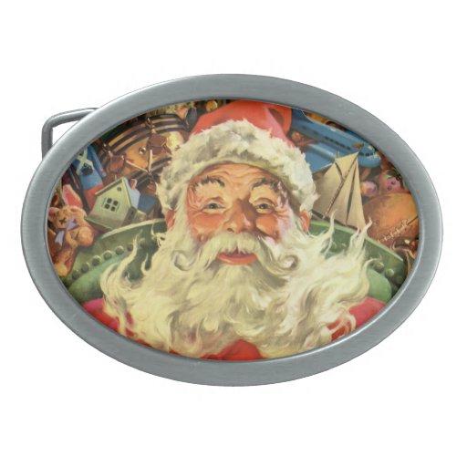 Vintage Christmas, Santa Claus Flying Sleigh Toys Oval Belt Buckle