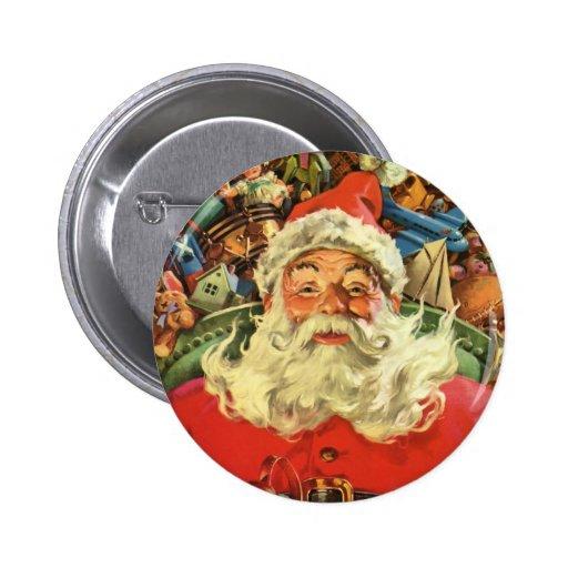 Vintage Christmas, Santa Claus Flying Sleigh Toys Pinback Button