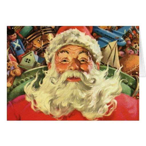 Vintage Christmas, Santa Claus Flying Sleigh Toys Cards