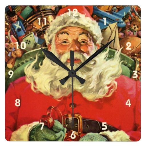Vintage Christmas, Santa Claus Flying Sleigh Toys Clocks