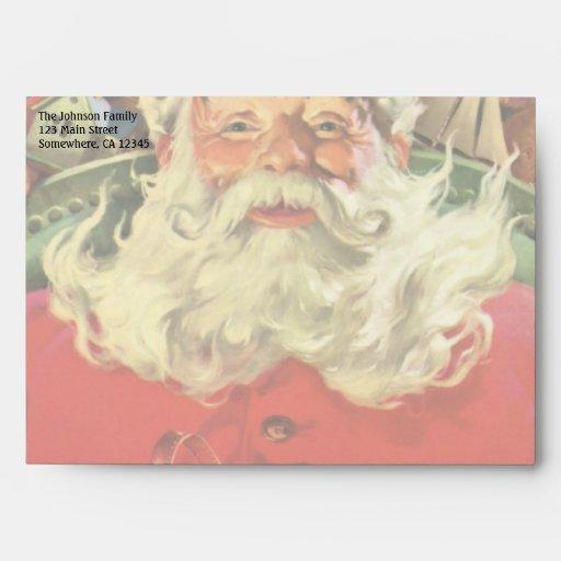 Vintage Christmas, Santa Claus Flying Sleigh Toys Envelopes