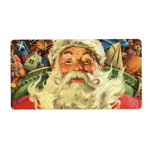 Vintage Christmas, Santa Claus Flying Sleigh Toys Shipping Labels