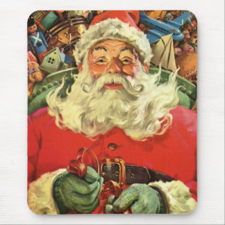 Vintage Christmas, Santa Claus Flying Sleigh Toys Mouse Pad