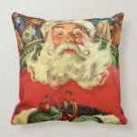 Vintage Christmas, Santa Claus Flying Sleigh Toys Throw Pillow