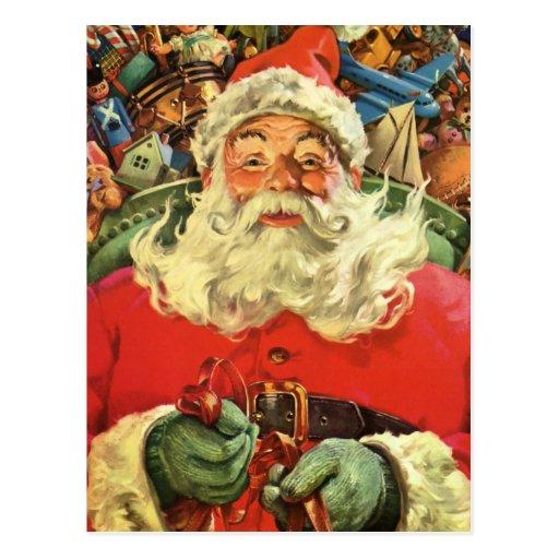 Vintage Christmas, Santa Claus Flying Sleigh Toys Postcard