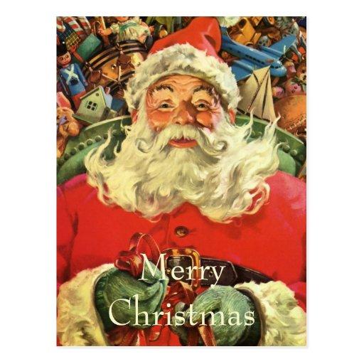Vintage Christmas, Santa Claus Flying Sleigh Toys Postcards