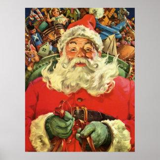 Vintage Christmas Santa Claus Flying Sleigh Toys Print