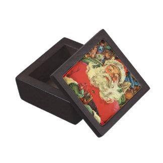 Vintage Christmas, Santa Claus Flying Sleigh Toys Premium Keepsake Boxes