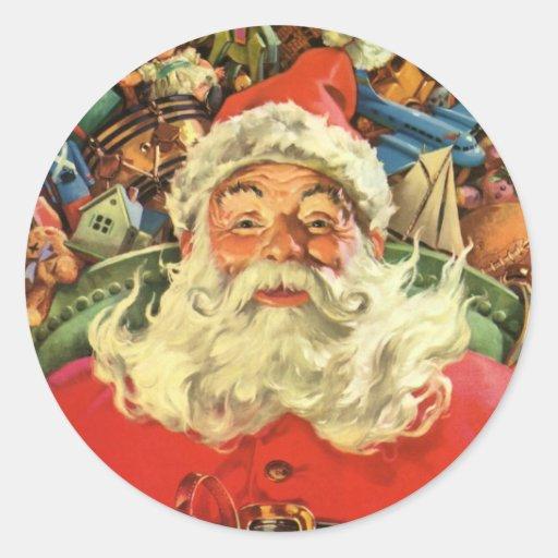 Vintage Christmas, Santa Claus Flying Sleigh Toys Round Sticker