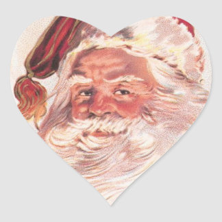 Vintage Christmas Santa Claus Heart Sticker