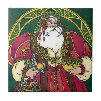 Vintage Christmas, Santa Claus Holly Leaves Ceramic Tile