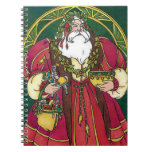 Vintage Christmas, Santa Claus Holly Leaves Spiral Notebooks
