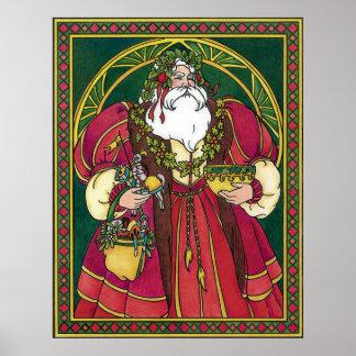 Vintage Christmas, Santa Claus Holly Leaves Print