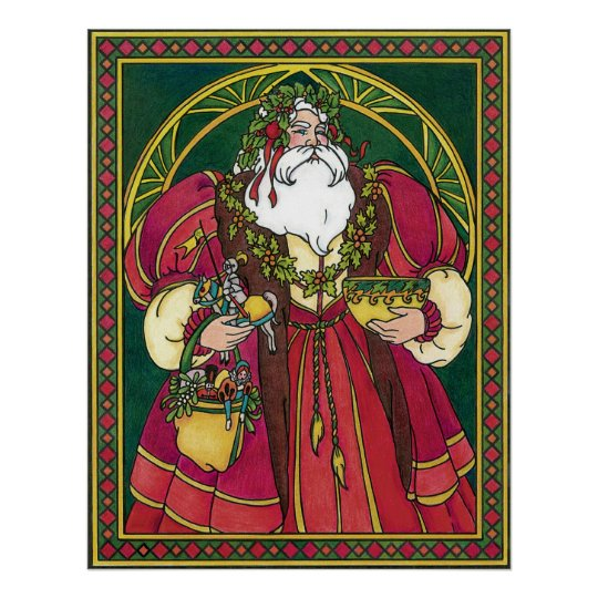 Vintage Christmas, Santa Claus Holly Leaves Poster