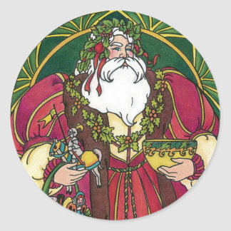 Vintage Christmas Santa Claus Holly Leaves Round Sticker
