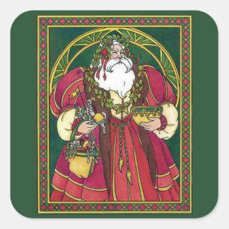Vintage Christmas Santa Claus Holly Leaves Sticker