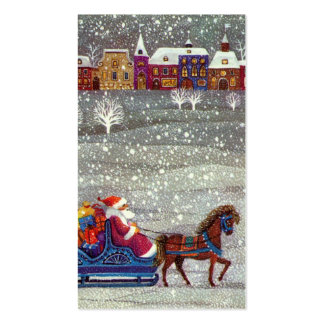 Vintage Christmas, Santa Claus Horse Open Sleigh Double-Sided Standard Business Cards (Pack Of 100)