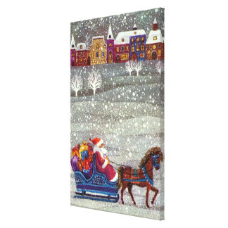 Vintage Christmas, Santa Claus Horse Open Sleigh Gallery Wrapped Canvas