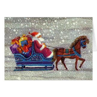 Vintage Christmas, Santa Claus Horse Open Sleigh Card