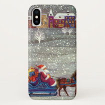Vintage Christmas, Santa Claus Horse Open Sleigh iPhone XS Case