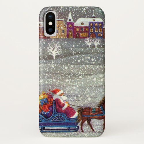 Vintage Christmas Santa Claus Horse Open Sleigh iPhone XS Case