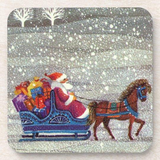 Vintage Christmas, Santa Claus Horse Open Sleigh Coaster