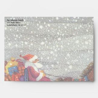 Vintage Christmas, Santa Claus Horse Open Sleigh Envelope