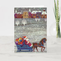 Vintage Christmas, Santa Claus Horse Open Sleigh Holiday Card