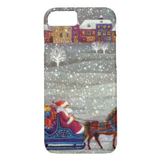 Vintage Christmas, Santa Claus Horse Open Sleigh iPhone 8/7 Case