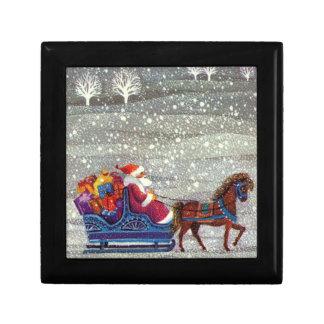 Vintage Christmas, Santa Claus Horse Open Sleigh Jewelry Box