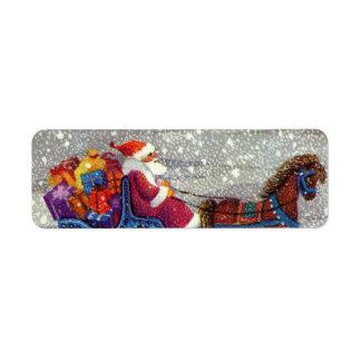 Vintage Christmas, Santa Claus Horse Open Sleigh Label