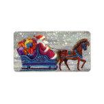 Vintage Christmas, Santa Claus Horse Open Sleigh Labels