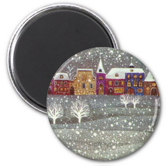 Vintage Christmas Santa Claus Horse Open Sleigh Fridge Magnets