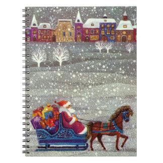 Vintage Christmas, Santa Claus Horse Open Sleigh Notebook