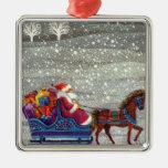 Vintage Christmas, Santa Claus Horse Open Sleigh Christmas Tree Ornaments