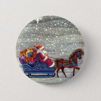 Vintage Christmas, Santa Claus Horse Open Sleigh Pinback Button