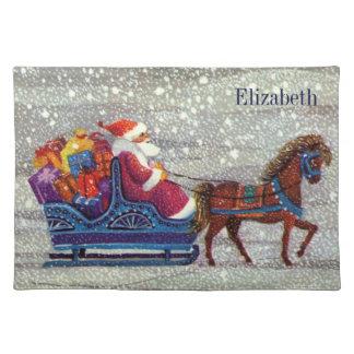 Vintage Christmas, Santa Claus Horse Open Sleigh Placemat