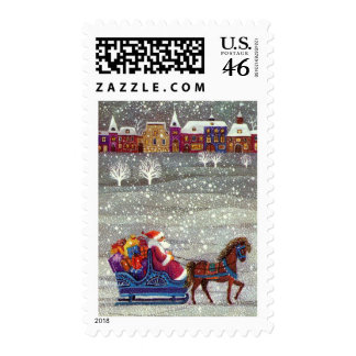 Vintage Christmas, Santa Claus Horse Open Sleigh Stamp