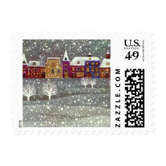 Vintage Christmas, Santa Claus Horse Open Sleigh Stamp